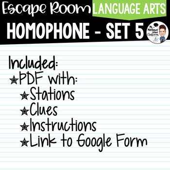 Homophone Escape Room Set 5