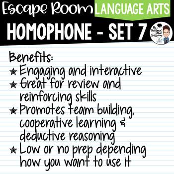 Homophone Escape Room Set 7