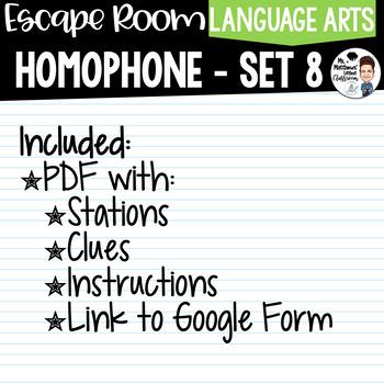 Homophone Escape Room Set 8