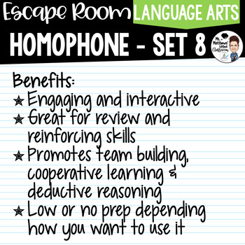 Homophone Escape Room Set 8