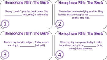 Homophone Fill In The Blank Task Cards