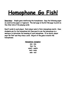 Homophone Go Fish Game