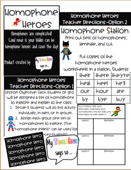 Homophone Heroes: Homophone Station or Activity