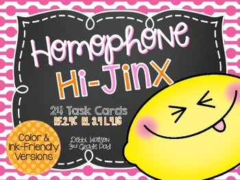 Homophone Task Cards Color & Ink-Friendly Versions Included