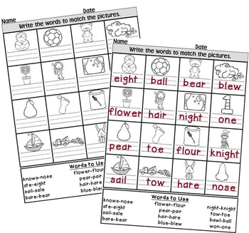 Homophones with Pictures Hippo Puzzles - 2 Levels of Difficulty