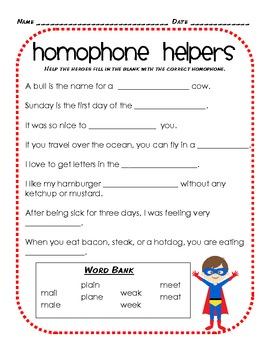 Homophone & Homonym Heroes Unit