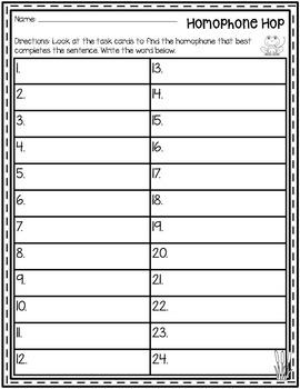 Homophone Hop {Homophone Task Cards}