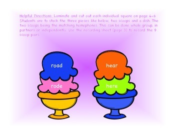 Homophone Ice Cream Scoops
