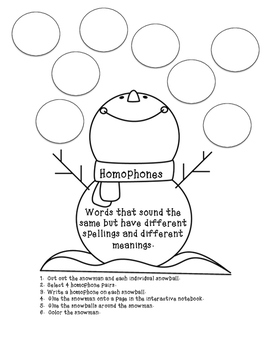 Homophone Interactive Notebook Activity Page