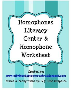 Homophone Literacy Center & bonus worksheet