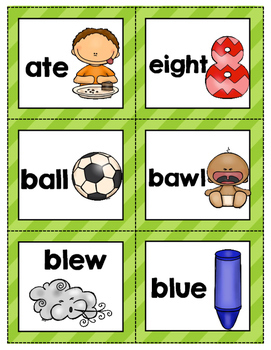 Homophone Match Center: in Color and B&W options