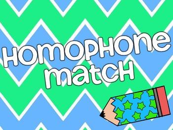 Homophone Match - Chevron Themed