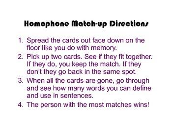 Homophone Match-Up