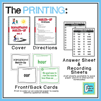 Homophone Matching Activity Game