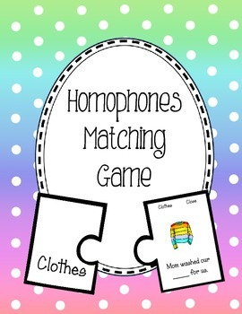 Homophone Matching Game. Activity Homonym English Center Puzzle