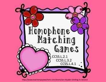 Homophone Matching Games-CCSSL.2.1; CCSSL.3.2; CCSSL.4.1