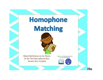 Homophone Matching or Memory Game
