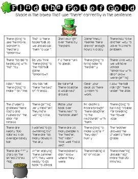 Homophone Maze: There, Their, They're. St. Patrick's Day Theme