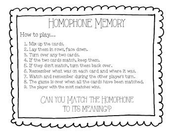 Homophone Memory Game