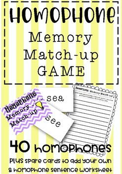 Homophone Memory Match-Up Game