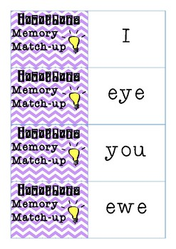 Homophone Memory Match-Up Game