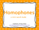 Homophone Mini Word Study Unit