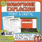 Homophone No-Prep Worksheets Print and Easel