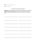 Homophone Note Taking Worksheet
