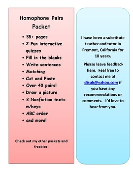 Homophone Pairs Packet - Definitions, Match, Draw, Fill in the Blank, & More!