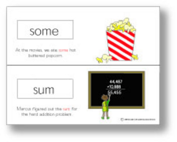 Homophone Picture Cards