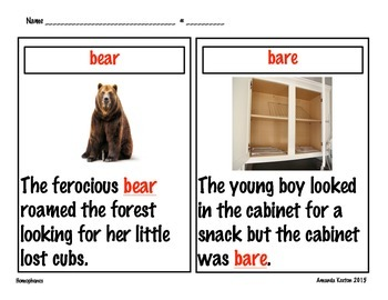 Homophone Picture Cards for Writing Centers