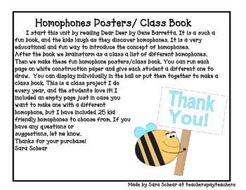 Homophone Posters/ Class Book