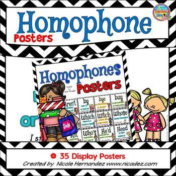 Homophone Posters: Set 2 (35 Posters Including By/Buy/Bye)