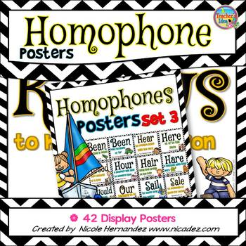 Homophone Posters: Set 3 (42 Posters Including Knows / Nose)