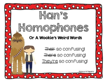 Homophone Posters and Interactive Spelling Practice Star Wars Themed