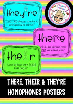Homophone Posters- Their, there and they're