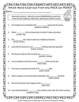 Homophone Practice: 3 NO PREP Printables with Answer Keys