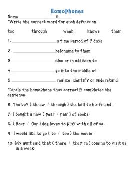 Homophone Practice Activity
