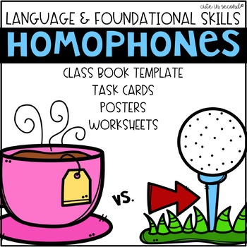 Homophone Practice Bundle- Worksheets, Task Cards, Class Book, and More!