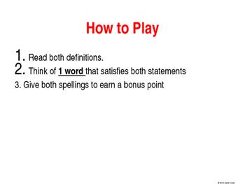 Homophone Practice Game
