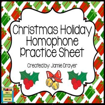 Homophone Practice Sheet: Christmas Holiday