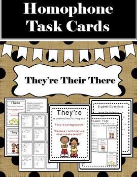 Homophone Task Cards: Practice with They're There Their