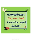 Homophone Practice with Scoot Game for To, Too, or Two Spelling