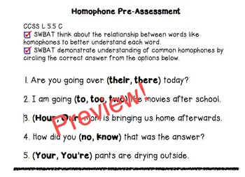 Homophone Pre- and Post-Assessments 5th Grade Common Core Standards