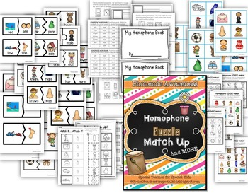 Homophone Puzzle Match Up and MORE