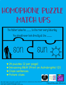 Homophone Puzzle Match Ups (22 pairs)