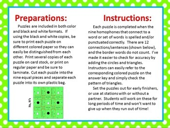 Pronoun Homophones (Its/It's, Your/You're, There/They're, Were/We're) Puzzles!