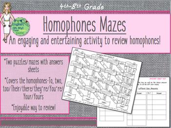 Homophone Puzzles, Maze-Homophone Review