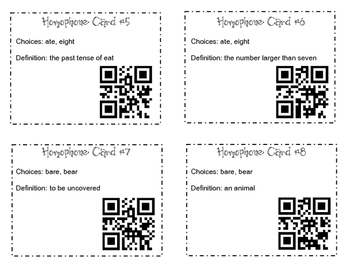 100 Homophone Pair QR Task Cards