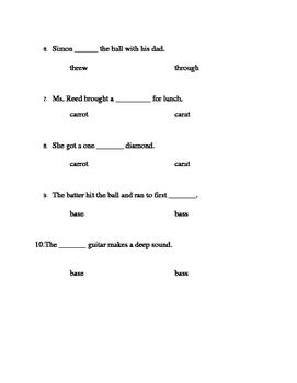 Homophone Quiz